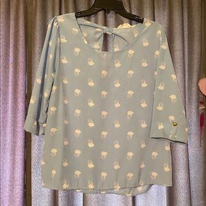 ModCloth Peach Love CA Clouds Top